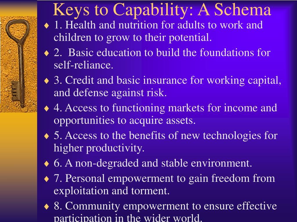 Keys to Capability: A Schema