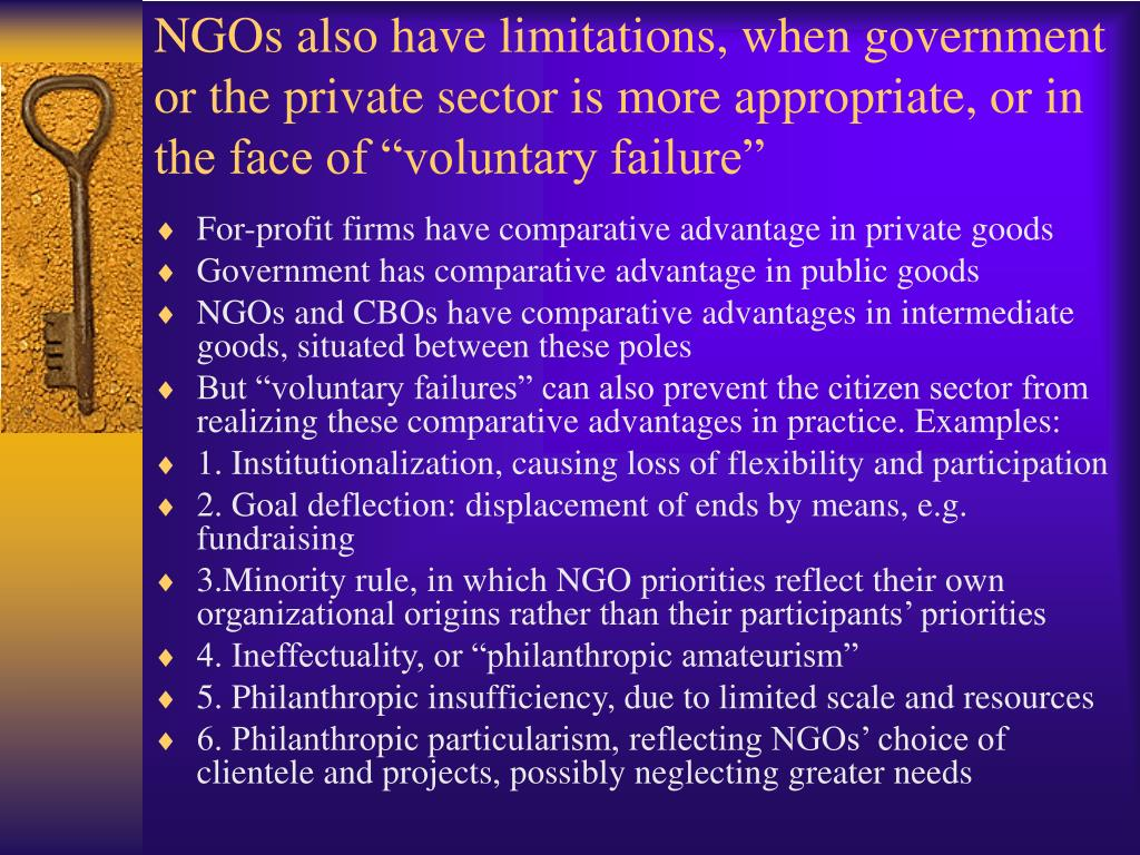 """NGOs also have limitations, when government or the private sector is more appropriate, or in the face of """"voluntary failure"""""""