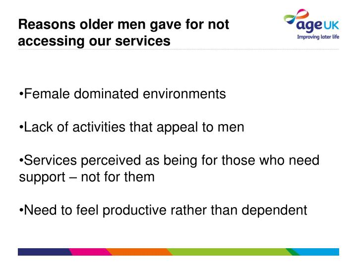 Reasons older men gave for not