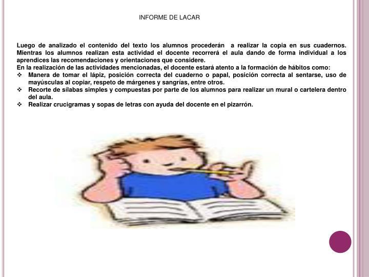 INFORME DE LACAR