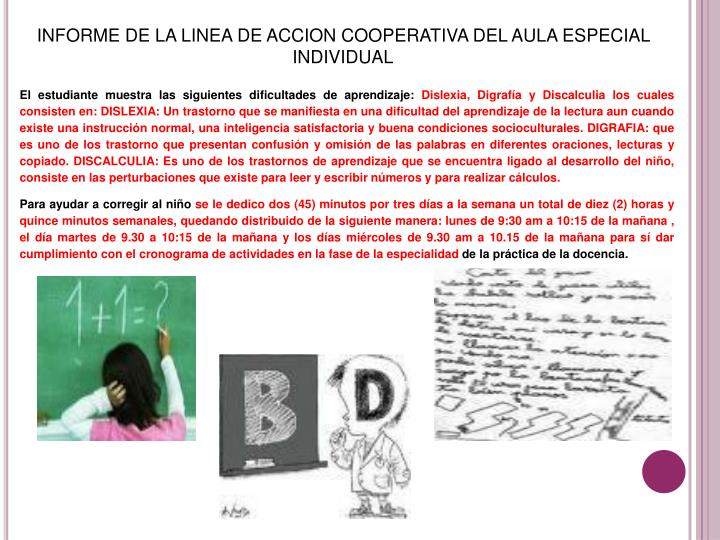 INFORME DE LA LINEA DE ACCION COOPERATIVA DEL AULA ESPECIAL INDIVIDUAL