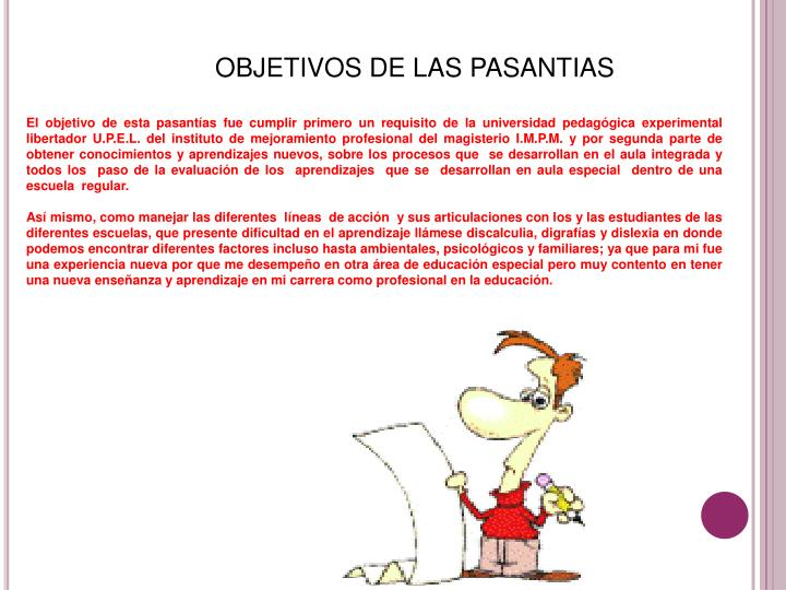 OBJETIVOS DE LAS PASANTIAS