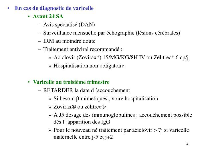 En cas de diagnostic de varicelle