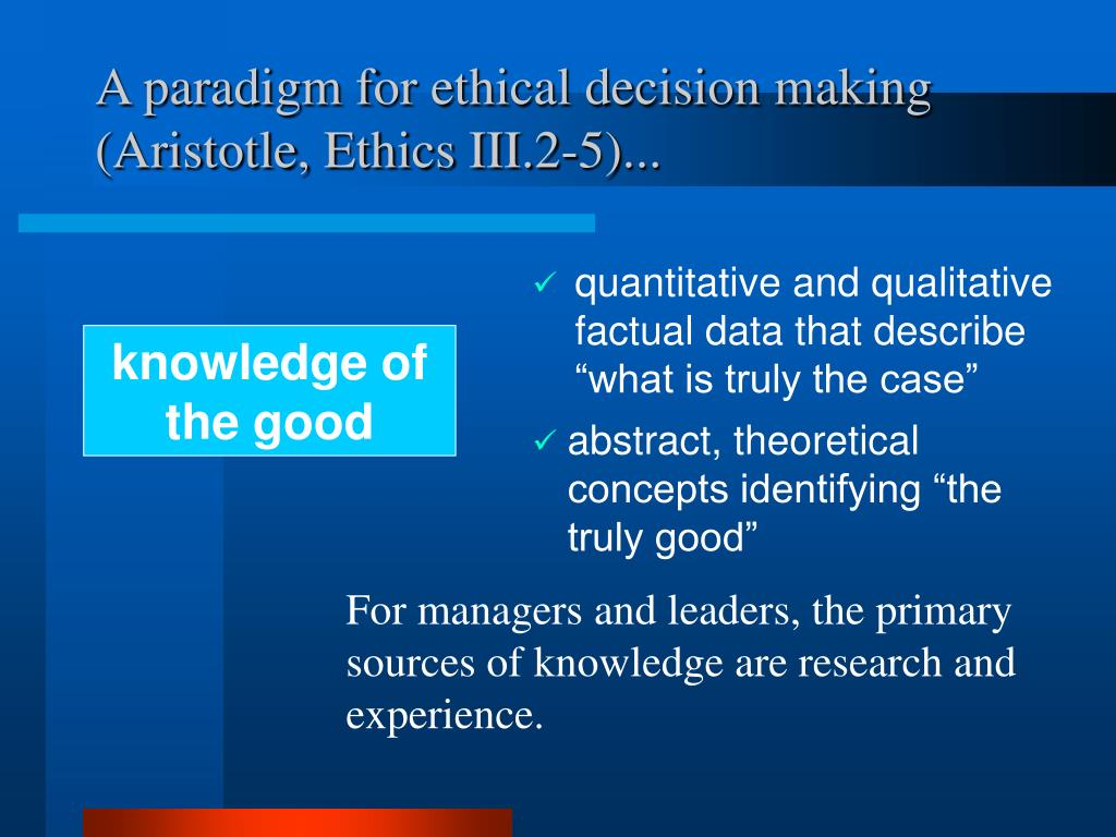 A paradigm for ethical decision making (Aristotle,