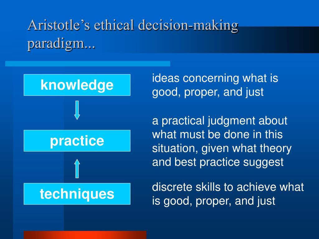 Aristotle's ethical decision-making paradigm...