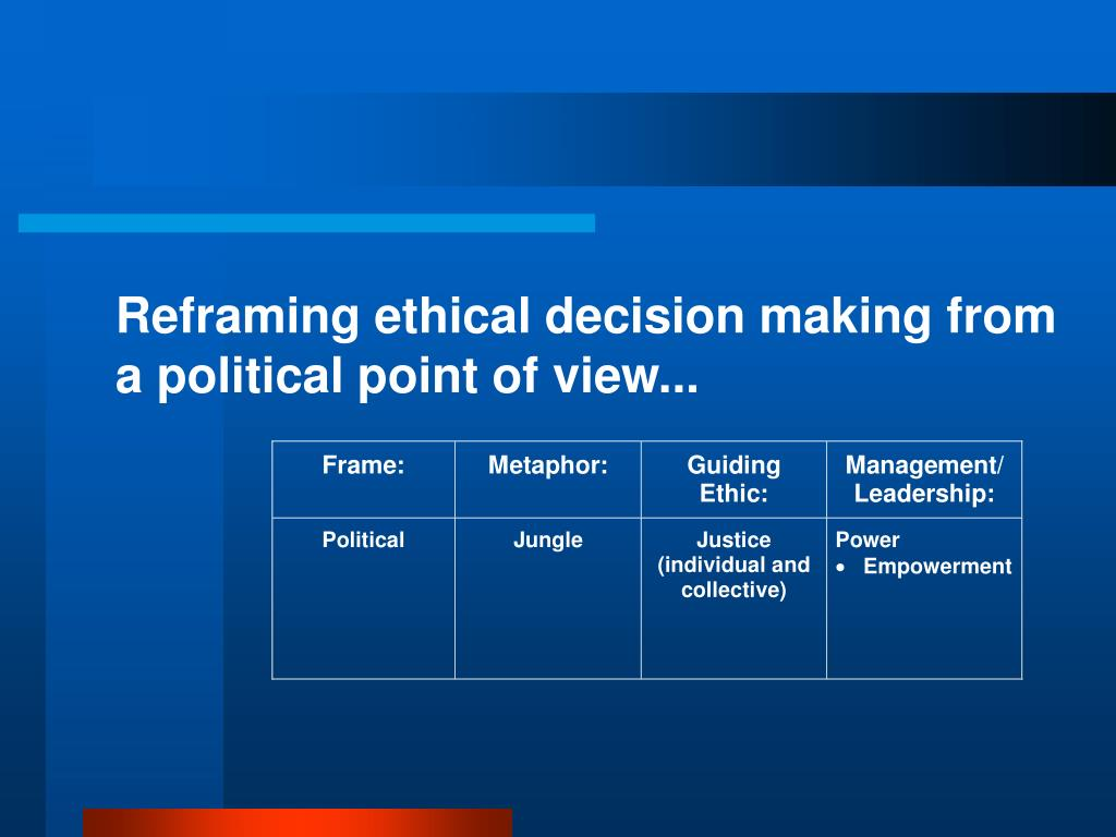 Reframing ethical decision making from a political point of view...