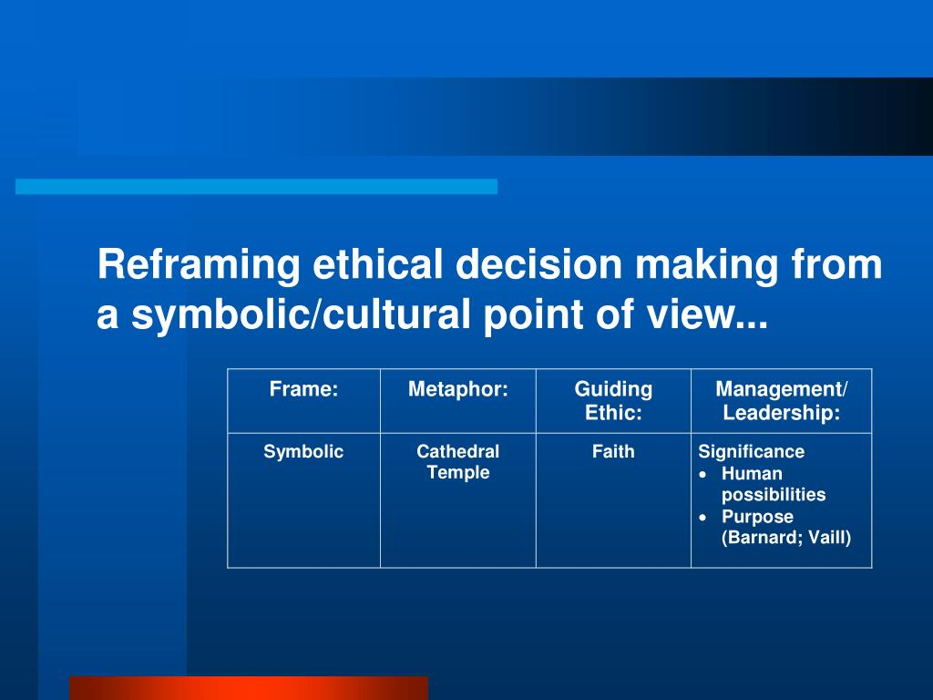 Reframing ethical decision making from a symbolic/cultural point of view...