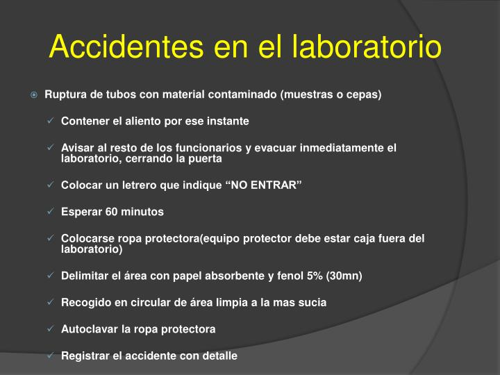Accidentes en el laboratorio