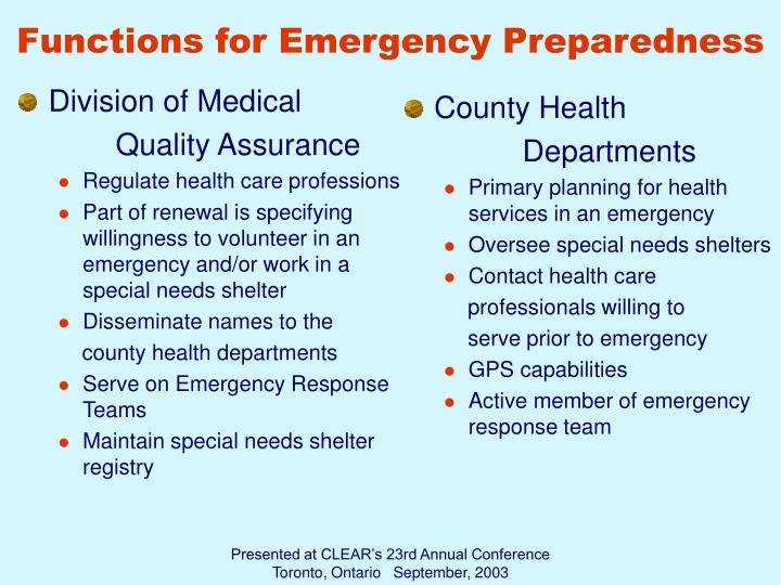 Functions for Emergency Preparedness