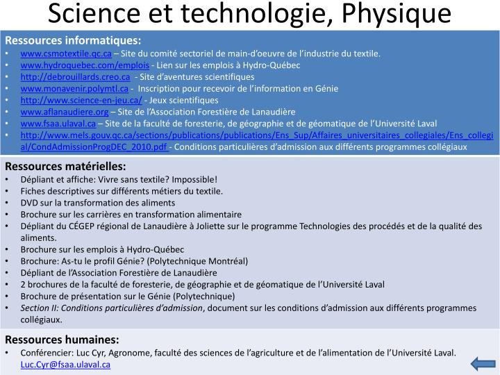 Science et technologie, Physique