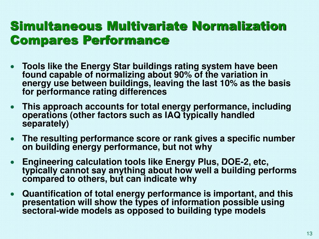 Simultaneous Multivariate Normalization Compares Performance