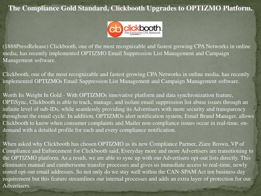The Compliance Gold Standard, Clickbooth Upgrades to OPTIZMO Platform.