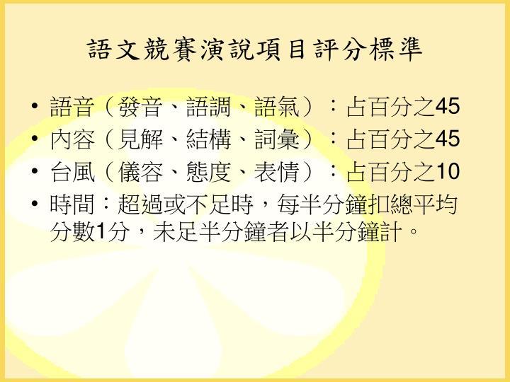 語文競賽演說項目評分標準