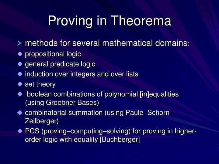 Proving in Theorema