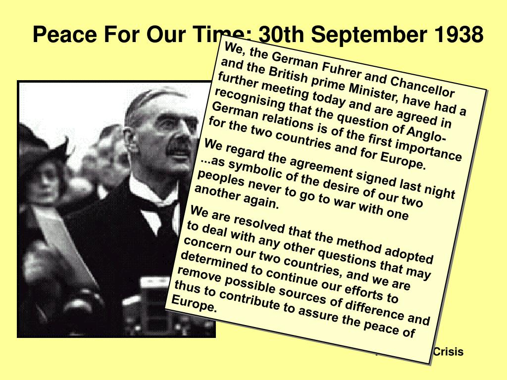 Peace For Our Time: 30th September 1938
