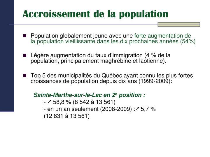 Accroissement de la population