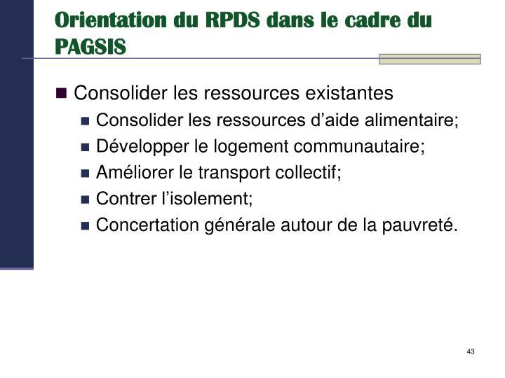 Orientation du RPDS dans le cadre du PAGSIS