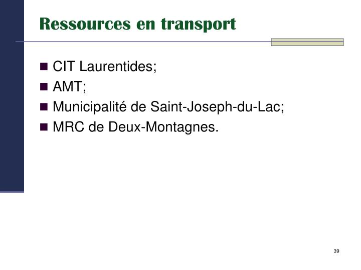Ressources en transport