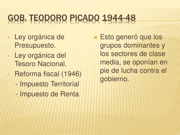 Gob. Teodoro Picado 1944-48