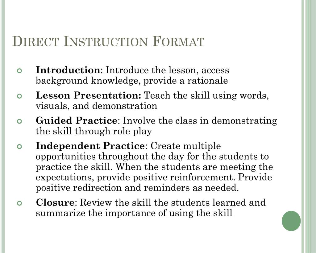 Direct Instruction Format
