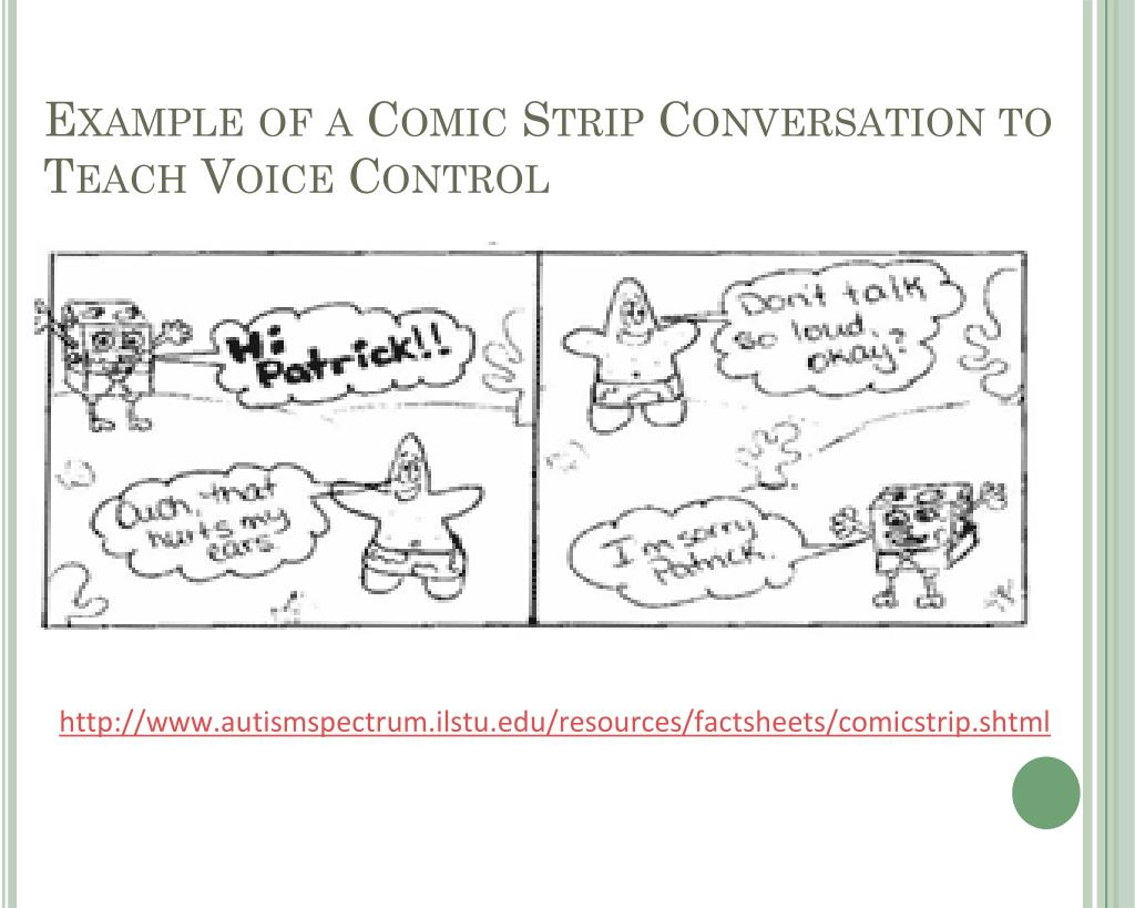 Example of a Comic Strip Conversation to Teach Voice Control