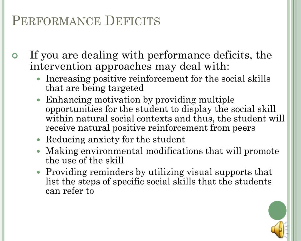 Performance Deficits
