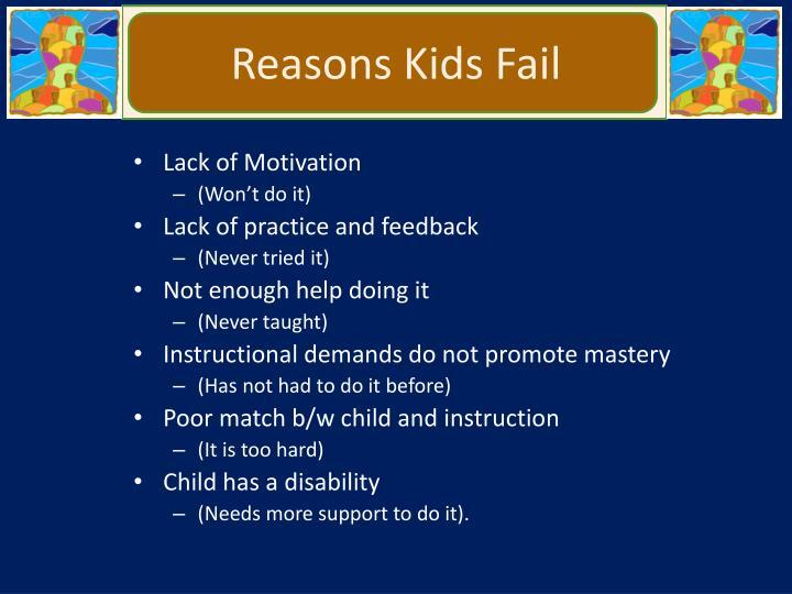 Reasons Kids Fail