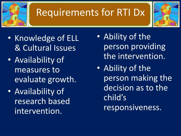 Requirements for RTI Dx