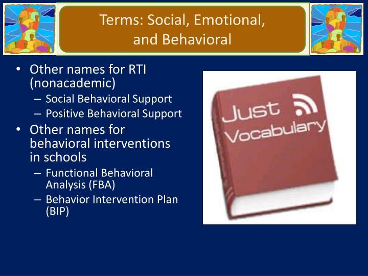 Terms: Social, Emotional,