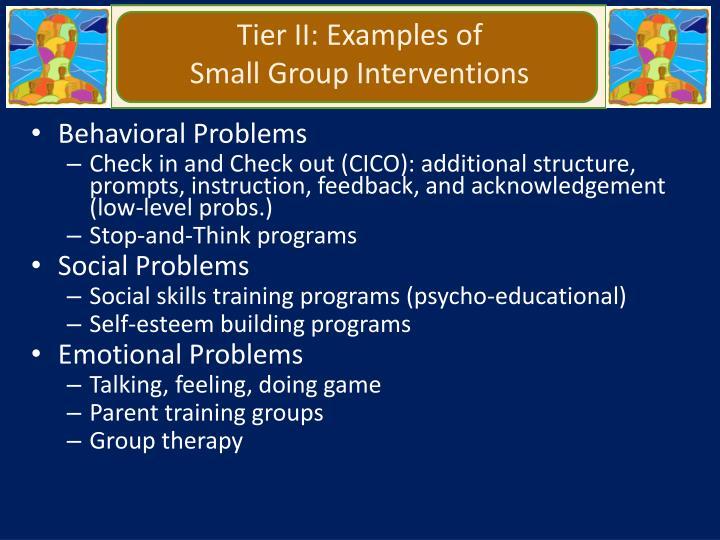 Tier II: Examples of