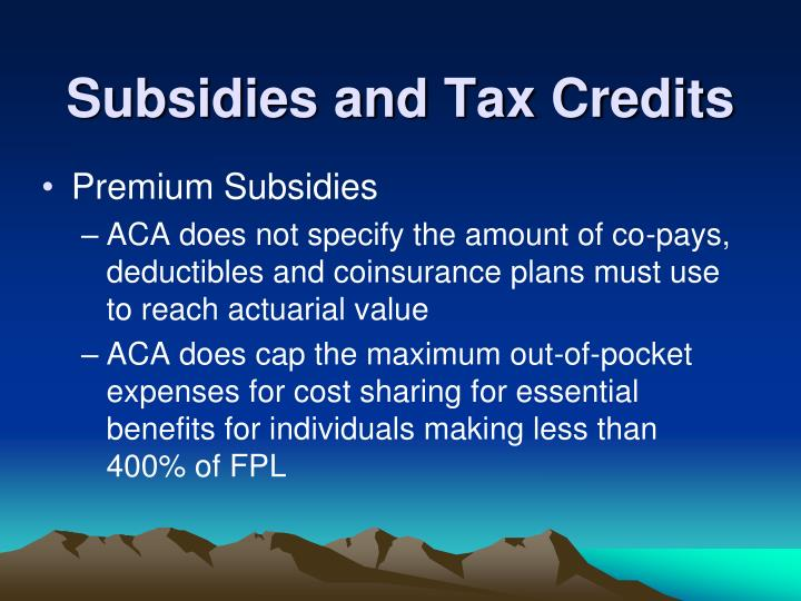 Subsidies and Tax Credits