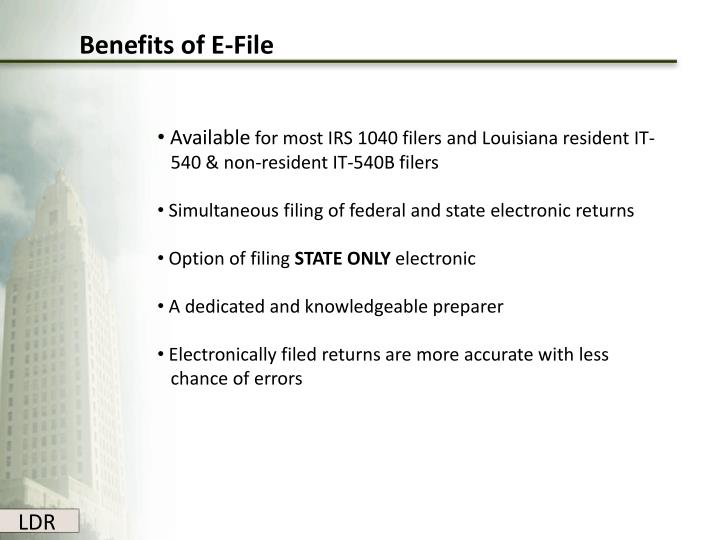 Benefits of E-File