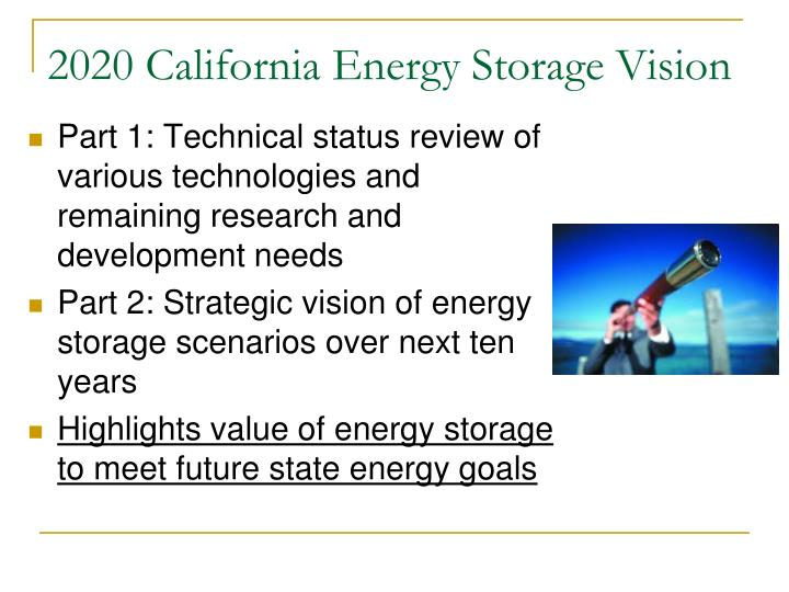 2020 California Energy Storage Vision