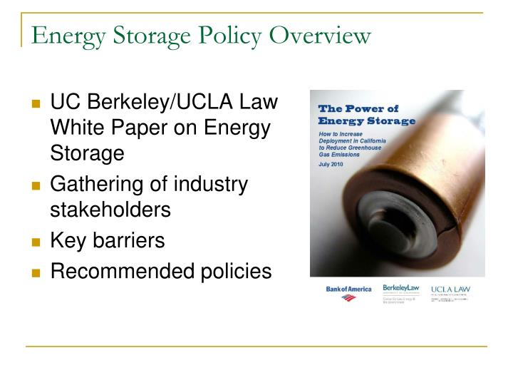 Energy Storage Policy Overview