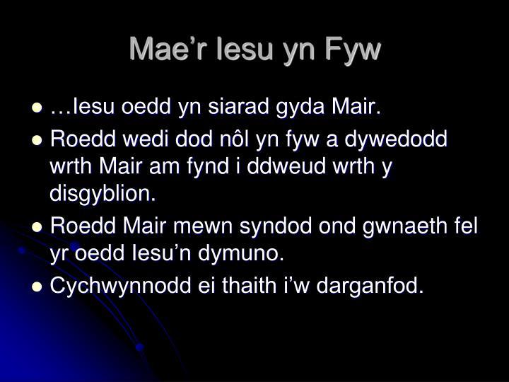 Mae'r Iesu yn Fyw