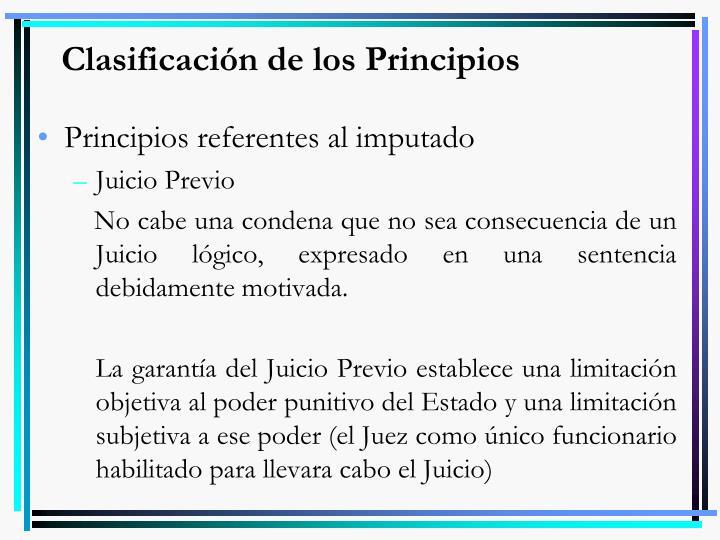 Clasificación de los Principios