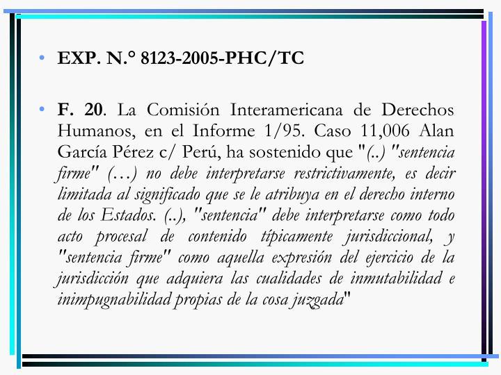 EXP. N.° 8123-2005-PHC/TC
