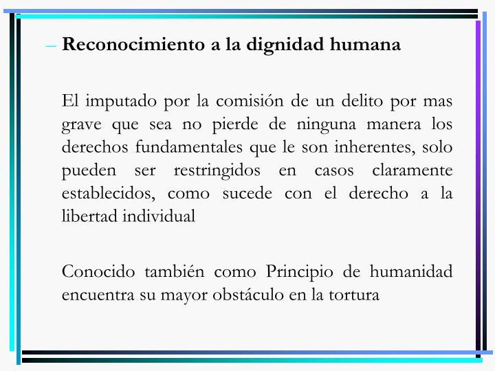 Reconocimiento a la dignidad humana