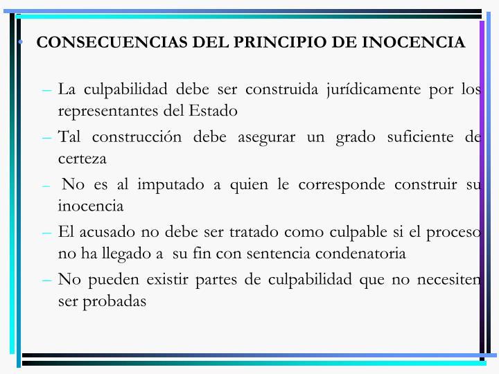 CONSECUENCIAS DEL PRINCIPIO DE INOCENCIA