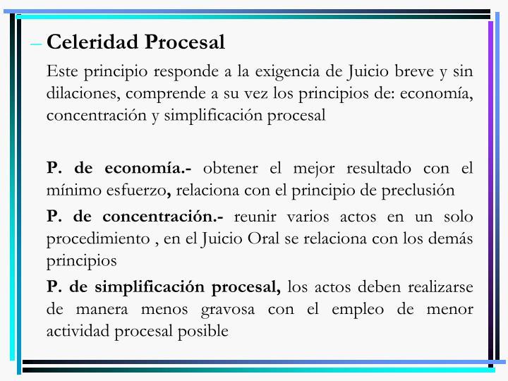 Celeridad Procesal