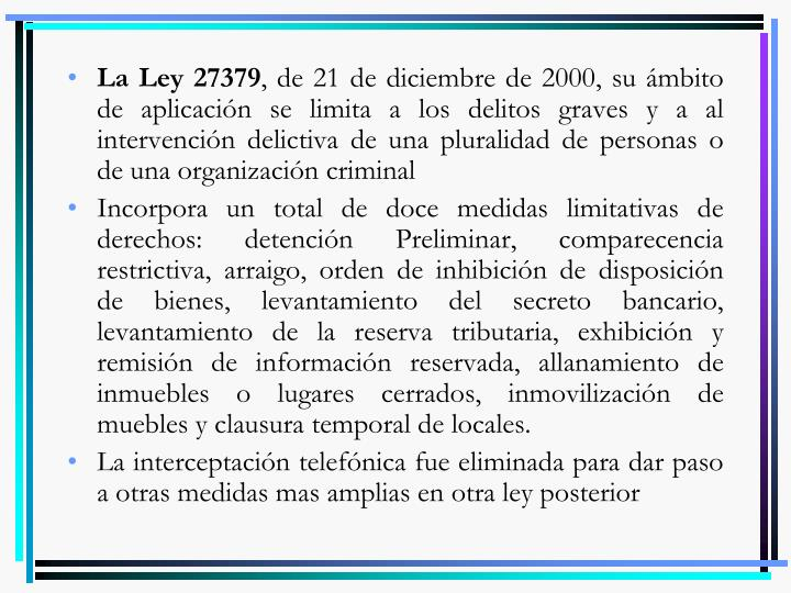 La Ley 27379