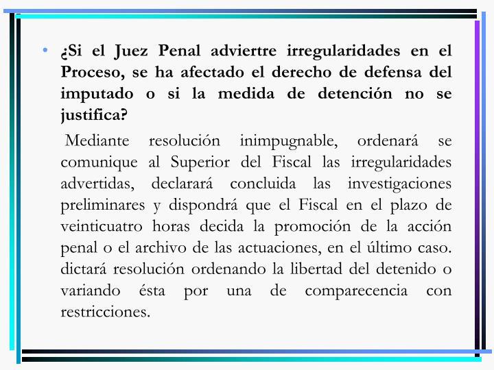 ¿Si el Juez Penal adviertre irregularidades en el Proceso, se ha afectado el derecho de defensa del imputado o si la medida de detención no se justifica?