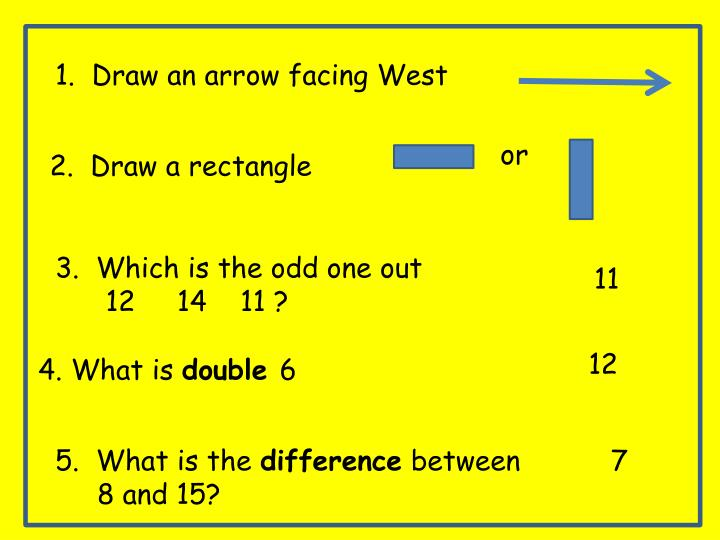 1.  Draw an arrow facing West