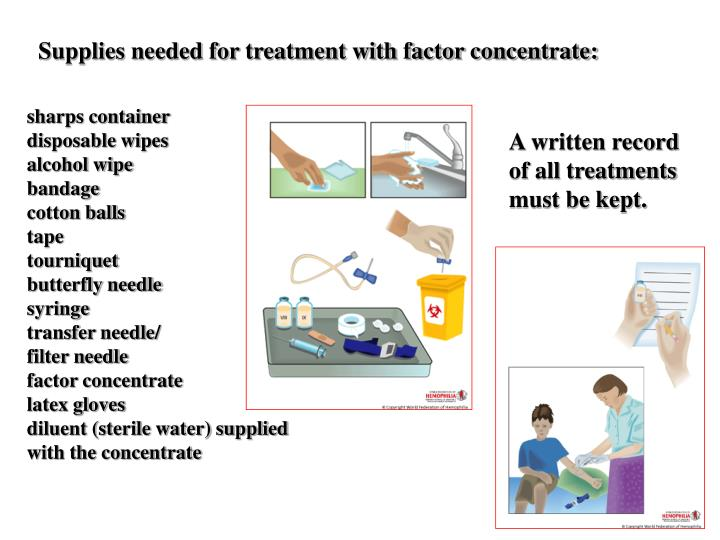 Supplies needed for treatment with factor concentrate: