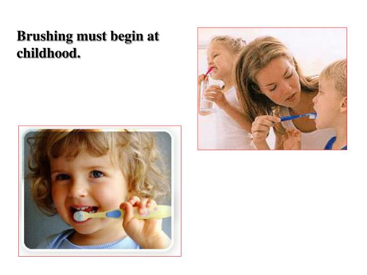 Brushing must begin at childhood.