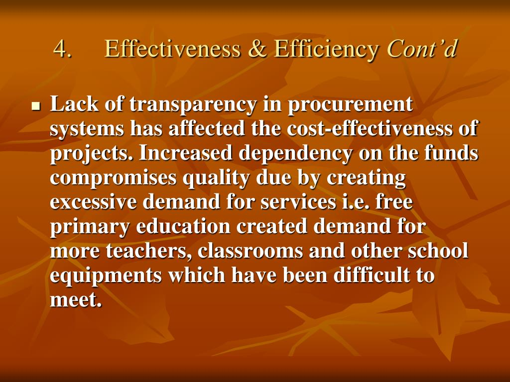 4.	Effectiveness & Efficiency