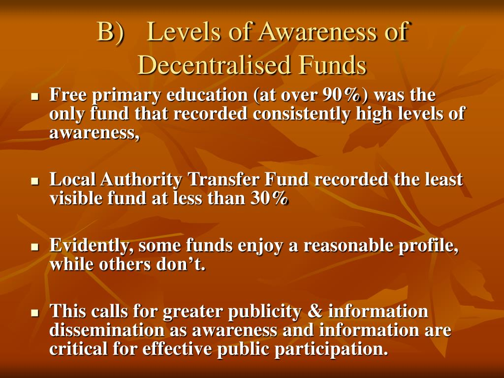 B)	Levels of Awareness of Decentralised Funds