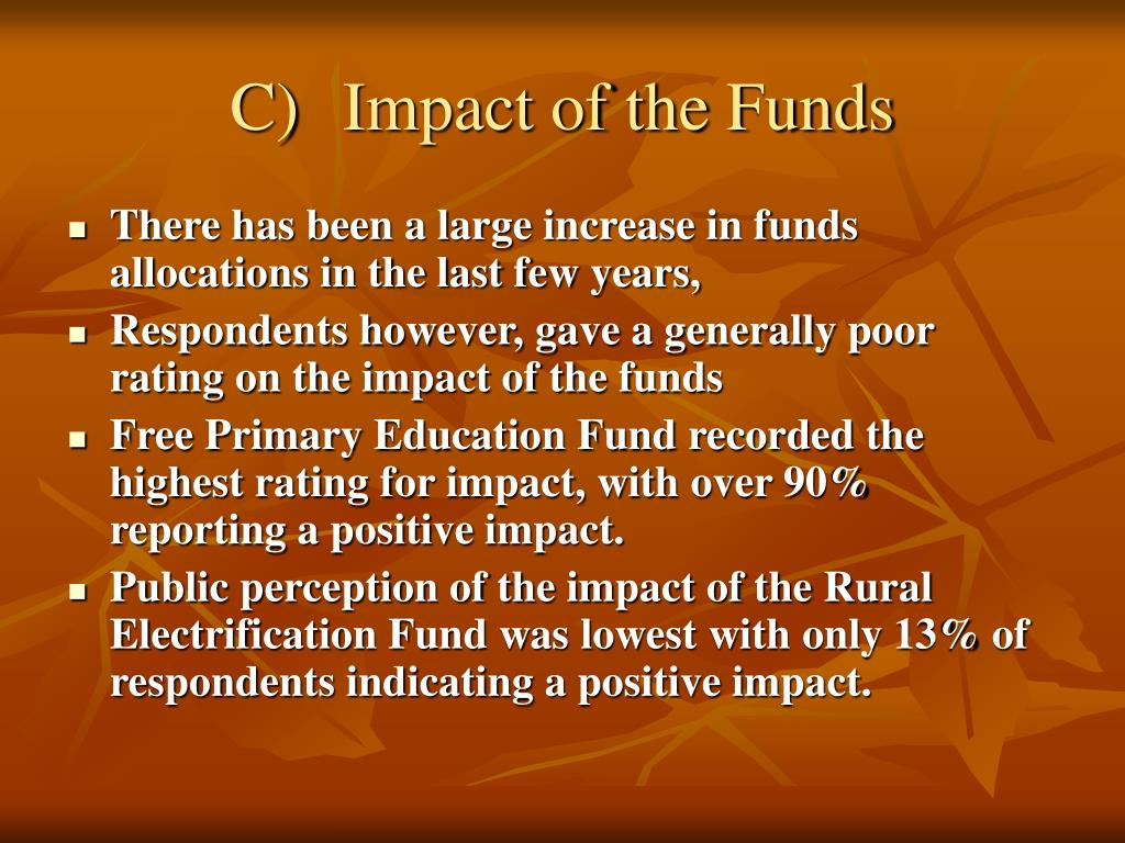C)	Impact of the Funds