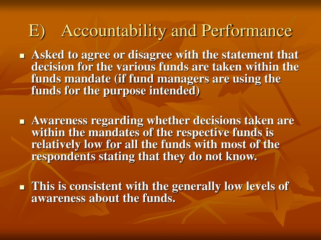 E)	Accountability and Performance