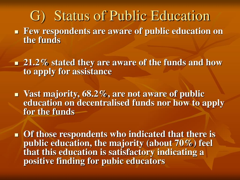 G)	Status of Public Education